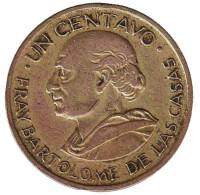 Бартоломе де лас Касас. Монета 1 сентаво. 1965 год, Гватемала. Из обращения.