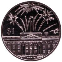 50 лет правлению Королевы Елизаветы II. Салют. Монета 1 доллар. 2002 год, Восточно-Карибские государства.