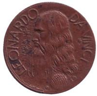 Леонардо да Винчи. Сувенирный жетон.