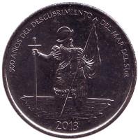 500 лет открытиям в Тихом океане. Монета 1/2 бальбоа. 2013 год, Панама.