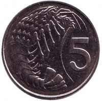Розово-пятнистая креветка. Монета 5 центов. 2005 год, Каймановы острова.
