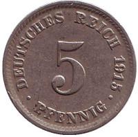 Монета 5 пфеннигов. 1915 год (D), Германская империя.