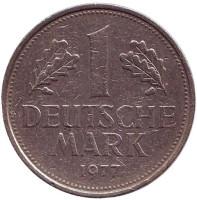 Монета 1 марка. 1977 год (G), ФРГ. Из обращения.