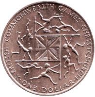 X Британские Игры Содружества. (Крайстчерч, Новая Зеландия). Монета 1 доллар, 1974 год, Новая Зеландия.