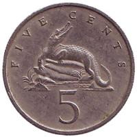 Острорылый крокодил. Монета 5 центов. 1972 год, Ямайка.