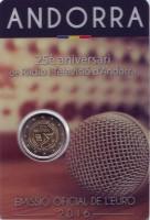 25 лет Радио и телевидению Андорры. Монета 2 евро. 2016 год, Андорра.