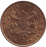 Монета 10 центов. 1990 год, Кения.