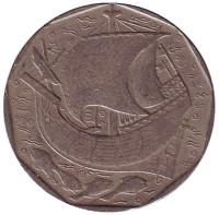 Парусник. Монета 50 эскудо. 1987 год, Португалия.