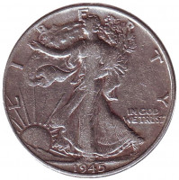 Шагающая свобода. Монета 50 центов. 1945 год (P), США.