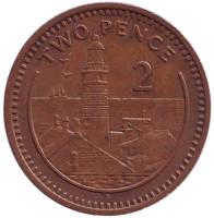 "Маяк. Монета 2 пенса. 1988 год, Гибралтар. (Отметка ""AB"")"
