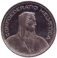 Вильгельм Телль. Монета 5 франков. 2009 год, Швейцария.