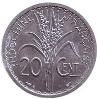 "Монета 20 сантимов. 1945 год, Французский Индокитай. XF-aUNC. (""B"" - Бомон-ле-Роже)"