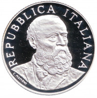 200 лет со дня рождения Антонио Меуччи. Монета 5 евро. 2008 год, Италия.