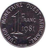 Монета 1 франк. 1981 год, Западные Африканские штаты.