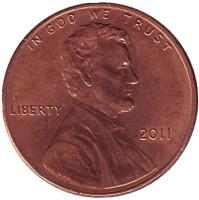 Монета 1 цент (P), США, 2011 год.