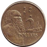Старейшина аборигенов. Монета 2 доллара. 2010 год, Австралия.