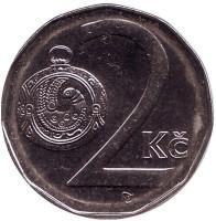 Монета 2 кроны. 1996 год, Чехия.