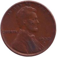 Линкольн. Монета 1 цент. 1937 год (S), США.