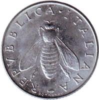 Медоносная пчела. Монета 2 лиры. 1970 год, Италия.