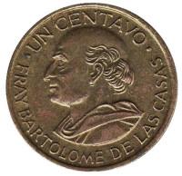 Бартоломе де лас Касас. Монета 1 сентаво. 1970 год, Гватемала.