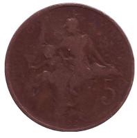 Монета 5 сантимов. 1899 год, Франция.
