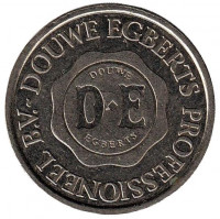 D.E. (DE). Douwe Egberts. Жетон кофейного автомата, Нидерланды. (Белый металл)
