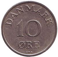"""Монета 10 эре. 1960 год, Дания. (Старый тип: Дубовая ветвь ниже """"FR IX"""")"""