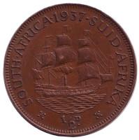 """Корабль """"Дромедарис"""". Монета 1/2 пенни. 1937 год, Южная Африка."""