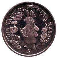 Кролик Питер. Монета 1 доллар. 2004 год, Британские Виргинские острова.