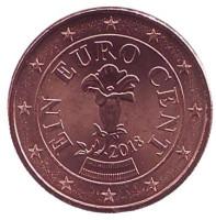 Монета 1 цент. 2018 год, Австрия.