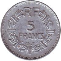 5 франков. 1947 год, Франция.