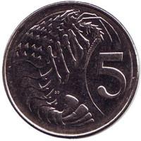 Розово-пятнистая креветка. Монета 5 центов. 2008 год, Каймановы острова.
