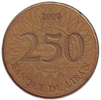 Монета 250 ливров. 2000 год, Ливан.