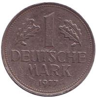 Монета 1 марка. 1977 год (J), ФРГ. Из обращения.