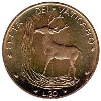 Благородный олень. Монета 20 лир. 1972 год, Ватикан.