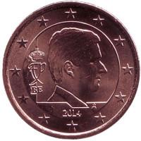 Монета 2 цента. 2014 год, Бельгия.