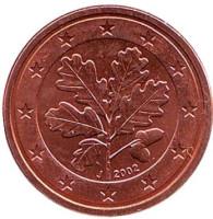 Монета 1 цент. 2002 год (J), Германия.
