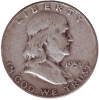 Франклин. Монета 50 центов. 1951 год (D), США.