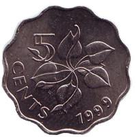 Орхидея. Монета 5 центов. 1999 год, Свазиленд.