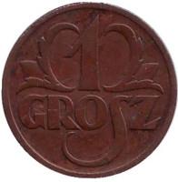 Монета 1 грош. 1939 год, Польша.
