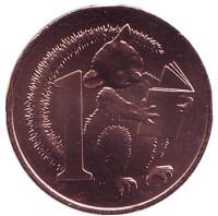 Опоссум Хаш. Монета 1 цент. 2017 год, Австралия.