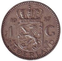 Монета 1 гульден. 1957 год, Нидерланды.