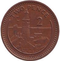 "Маяк. Монета 2 пенса. 1991 год, Гибралтар. (Отметка ""AA"")"