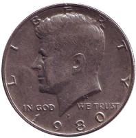 Джон Кеннеди. Монета 50 центов. 1980 год (P), США.
