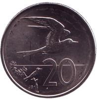 Австралийская крачка. Монета 20 центов. 2015 год, Острова Кука.