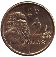 Старейшина аборигенов. Монета 2 доллара. 2016 год, Австралия.