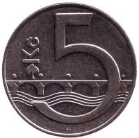 """Монета 5 крон. 1994 год, Чехия. (Отметка: """"b"""")."""