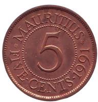 Монета 5 центов. 1991 год, Маврикий.