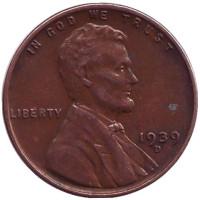 Линкольн. Монета 1 цент. 1939 год (D), США.