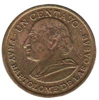Бартоломе де лас Касас. Монета 1 сентаво. 1972 год, Гватемала.